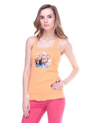 Майка оранжевая с принтом | 2146846