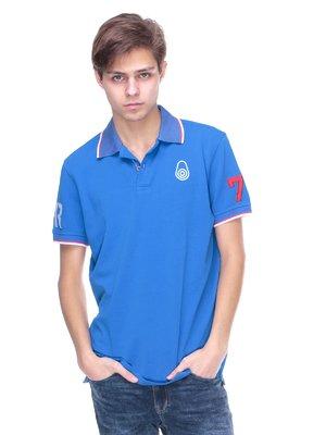 Футболка-поло блакитна з аплікаціями | 2146619