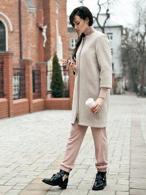 Пальто бежево-молочного цвета в полоску | 2160897