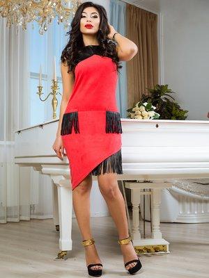 Платье кораллово-черное | 2146774