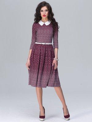 Платье бордовое в принт | 2180477
