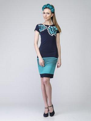 Сукня синя в квітковий принт і смужку | 2184848