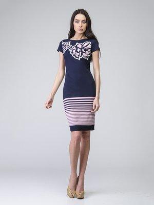 Платье синее в цветочный принт и полоску | 2184849