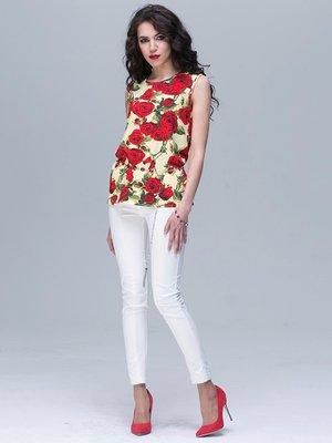 Блуза жовта з квітковим принтом | 2191245