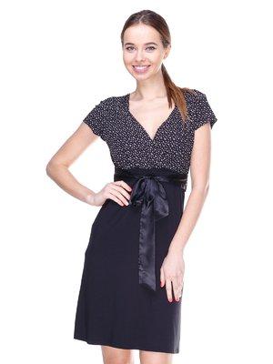 Платье черное в мелкий принт | 2191585