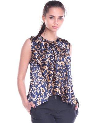 Блуза сине-золотого цвета в принт | 2195846