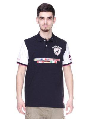 Футболка-поло чорно-біла з аплікаціями | 2191500