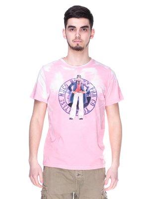 Футболка рожева з принтом | 2193048