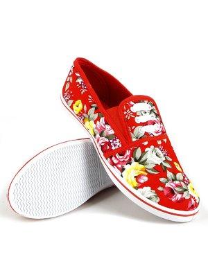 Кеды красные с цветочным принтом | 2199551