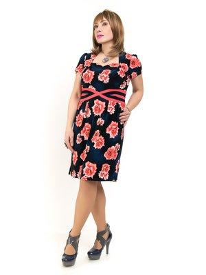 Сукня темно-синя з квітковим принтом | 2211772