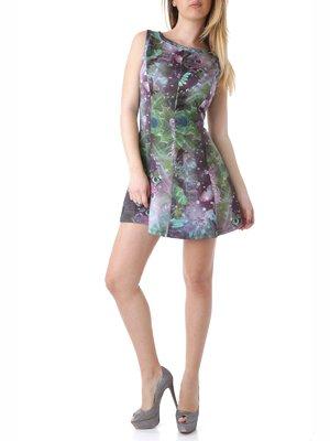 Сукня зелено-фіолетова з принтом | 2218255