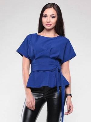 Блуза цвета электрик с поясом | 2220190