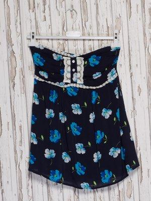 Топ-бюст'є темно-синій з квітковим принтом | 2227751