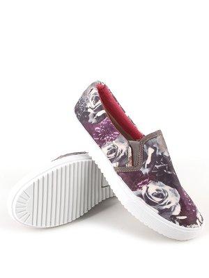 Сліпони сіро-фіолетові з квітковим принтом | 2255366