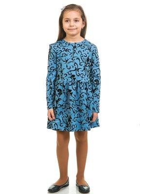 Платье синее в принт | 2257598