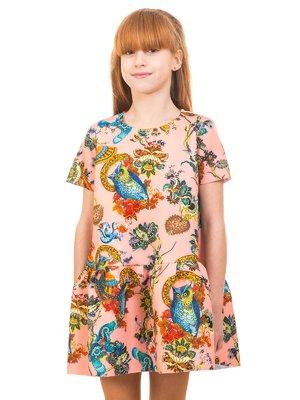 Сукня персикового кольору в принт | 2257632