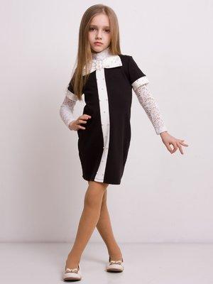 Платье черно-белое с бантом | 1638975