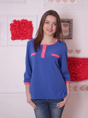 Блуза синяя с розовыми вставками | 2279022