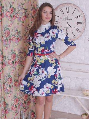 Платье синее в цветочный принт | 2279031