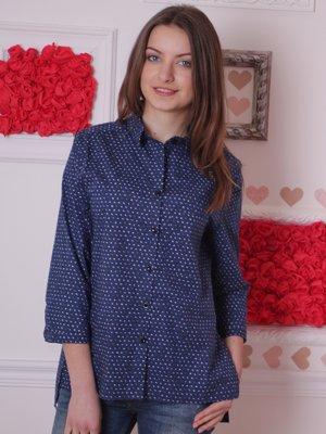 Блуза синяя в принт | 2279038