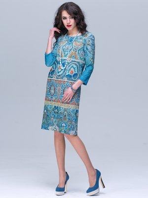 Платье голубое в принт | 2285304