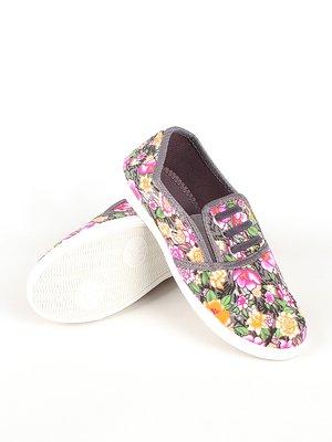 Сліпони сірі з квітковим принтом | 2285169