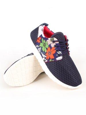 Кроссовки синие с цветочным принтом | 2285182