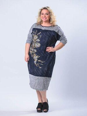 Сукня сіро-синя з квітковим принтом   2303072