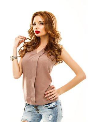 Блуза темно-бежевая | 2305422