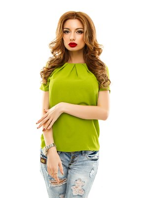 Блуза оливкового кольору | 2305438