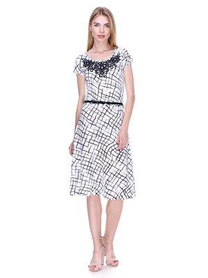 Платье бело-черное в принт | 2302432