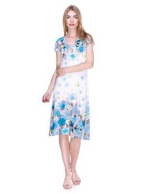 Сукня біло-блакитна в квітковий принт | 2302492