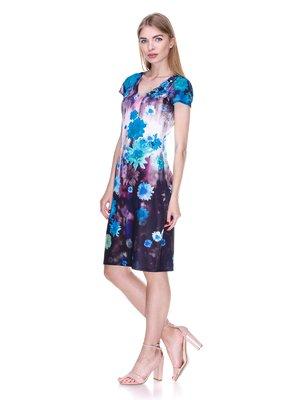 Сукня чорно-блакитна в квітковий принт | 2302449
