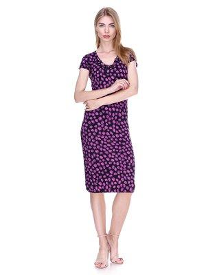 Сукня чорно-фіолетова в принт | 2302495