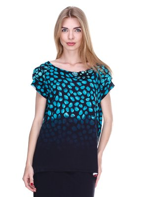 Блуза черно-бирюзовая | 2302428