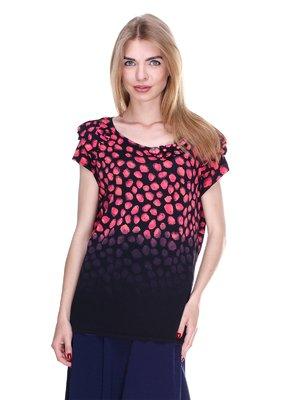 Блуза черно-коралловая | 2302426