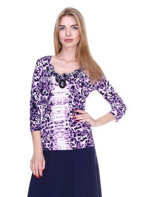 Лонгслив фиолетовый в принт | 2302443