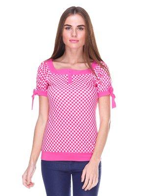 Блуза кольору фуксії в клітинку | 2316529