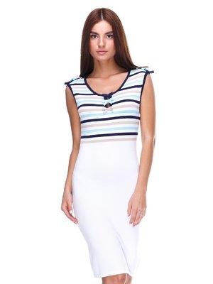 Платье белое с полосками | 2316468