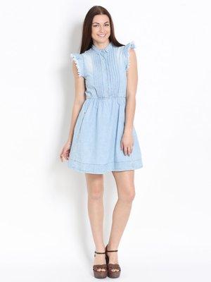 Платье голубое джинсовое с эффектом слегка потертого | 2189993