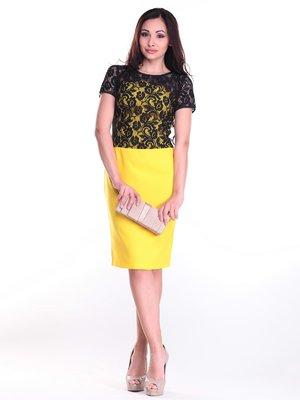 Платье черно-желтое в узор | 2281165