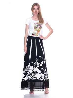 Спідниця чорна з квітковим принтом | 2317058