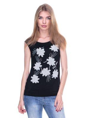 Блуза черная с рисунком из страз   2317107