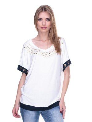 Блуза белая с декором | 2317005