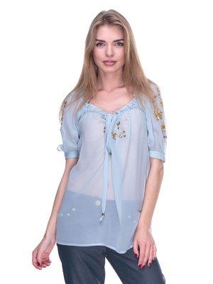 Блуза блакитна з вишивкою | 2317049