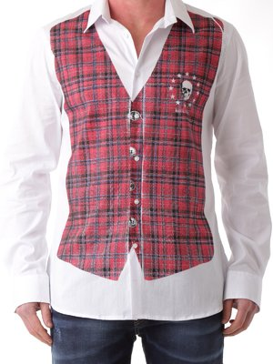 Рубашка бело-красная в клетку со стилизованным жилетом | 2333596