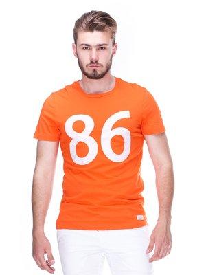 Футболка помаранчева з принтом | 2329239