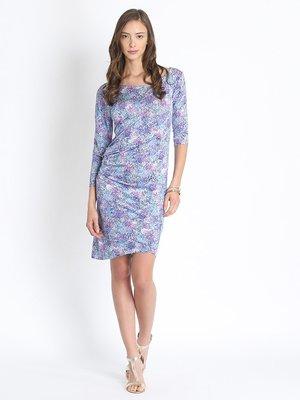 Сукня біло-блакитна в принт | 2347571