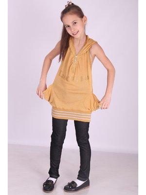 Майка-туніка золотисто-жовта з декором | 2347925