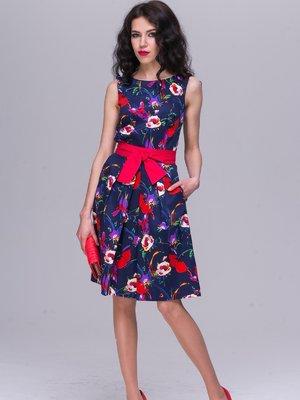 Платье синее в цветочный принт | 2295500